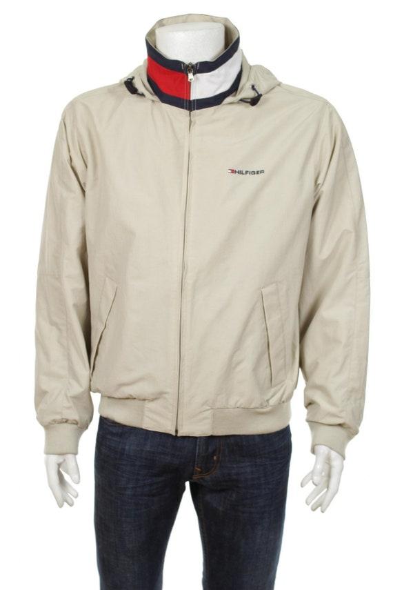 Size Hilfiger Tommy S Hooded Color Block Redbluebeige Jacket Windbreaker Waterproof mwO0yv8nN