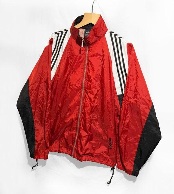 Adidas Trefoil Cut and Saw Windbreaker 90s jacket Big Logo Spell Out RedWhiteBlack Size XL