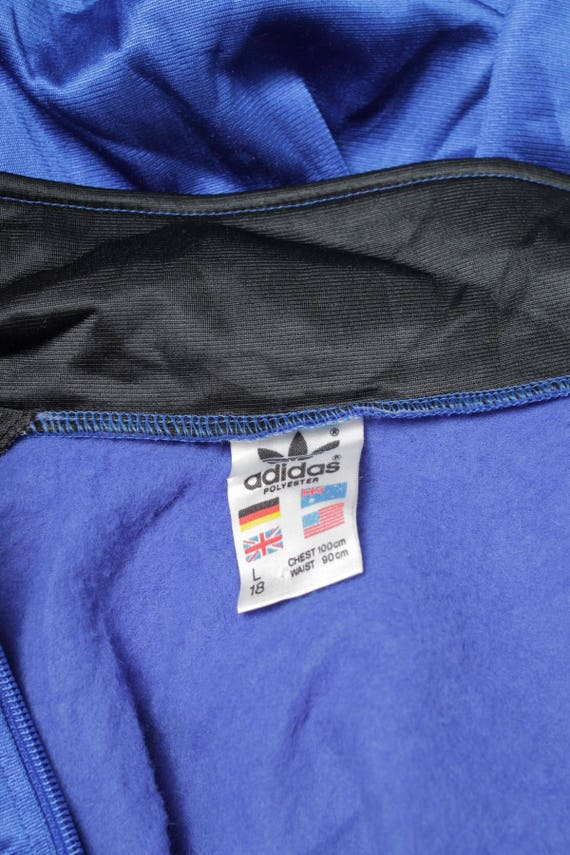 vintage 90s Adidas track Top jacket Trefoil logo Cut and Sew Color block Black BlueWhite Size L
