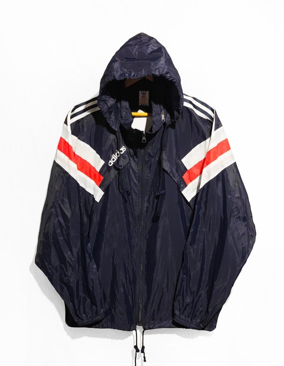 vintage 90s Adidas Cut And Saw Windbreaker veste Multicolor PACKABLE BluewhiteRed Size XL