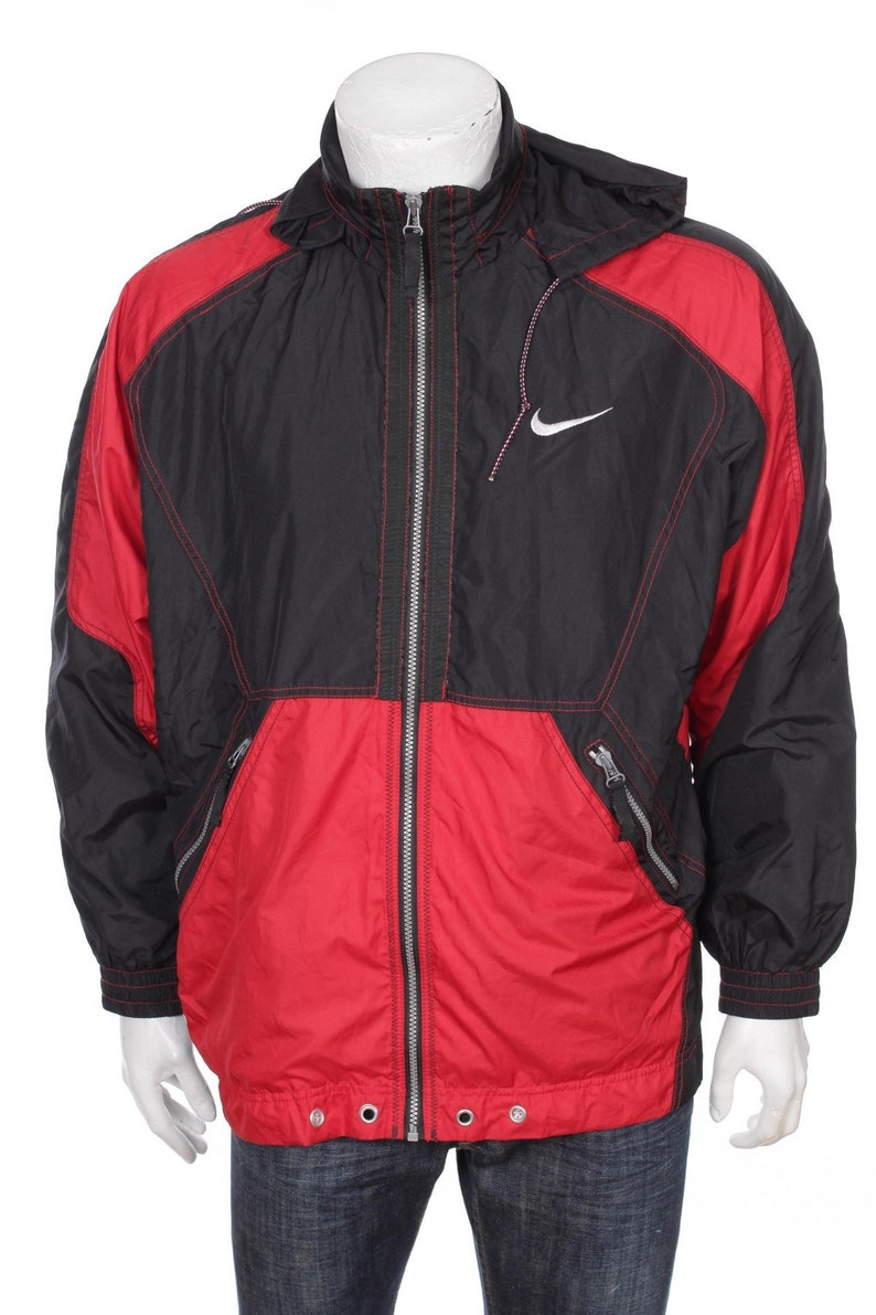 Nike Jacket 90s Windbreaker Nylon Shell Zip Jacket Red and  aa7b367af