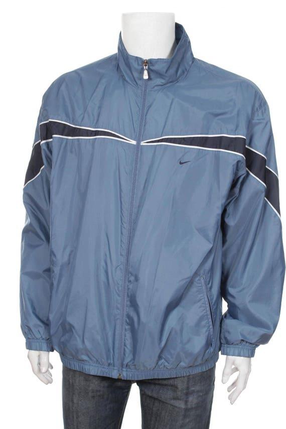 Nike Windbreaker vintage 90s Shell zip jacket Streetwear Color Block Jacket jacket BlueNavy Blue Size XL