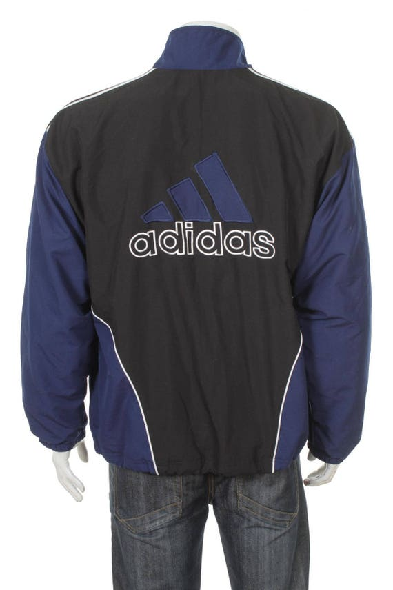 Vintage 90er Jahre Adidas Windbreaker Trainingsanzug top Jacke blauweißschwarz Größe M