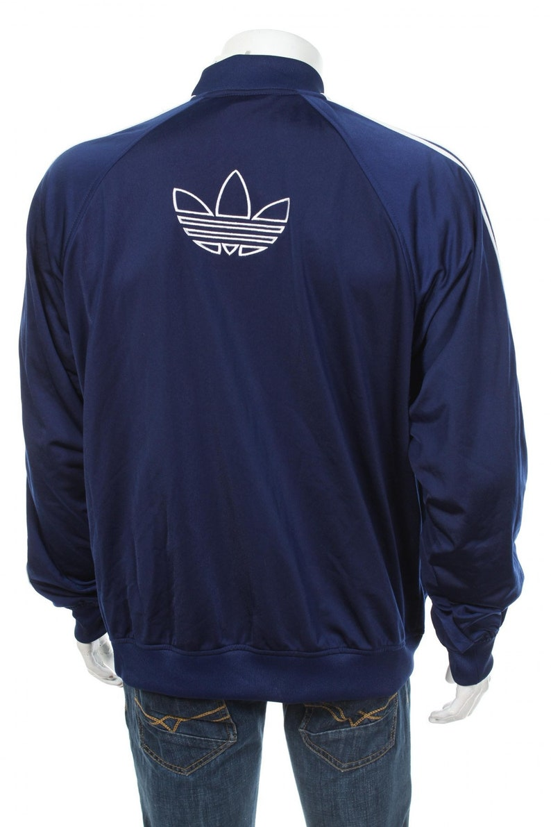 Adidas Track Top jacket TREFOIL Retro Sports Throwback Blue Striped Streetwear Hipster Vintage BlueWhite Size L