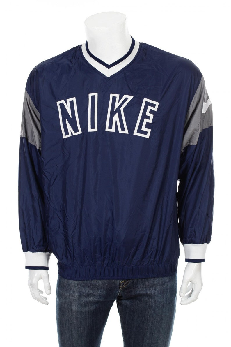 4ef82074b87e2 Rare 90s Nike Swoosh Windbreaker Pullover jacket Big Logo Spell Out  Blue/White/Gray Size S