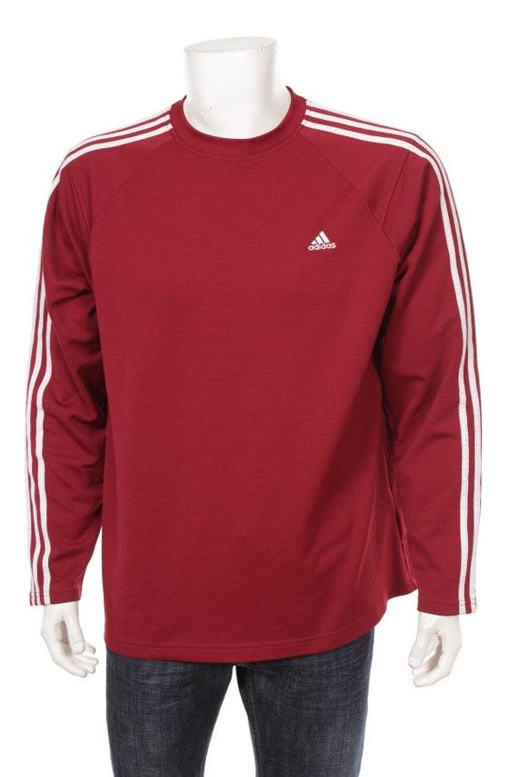 Vintage Adidas Sweatshirt Maroon Red White Size L  99ce33987990