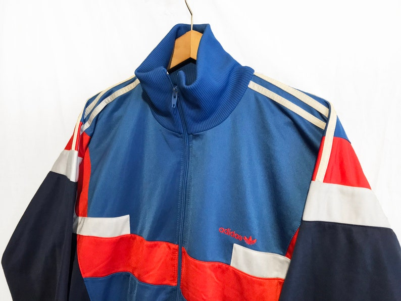 Adidas Track top jacket TREFOIL Retro Sports Throwback Red Blue Striped Streetwear Vintage BlueRedWhite Size L