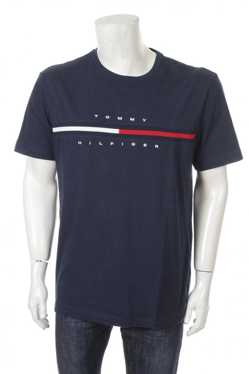 46e149fa174 Vintage Tommy Hilfiger T-shirt Flag Logo Spell Out Navy Blue