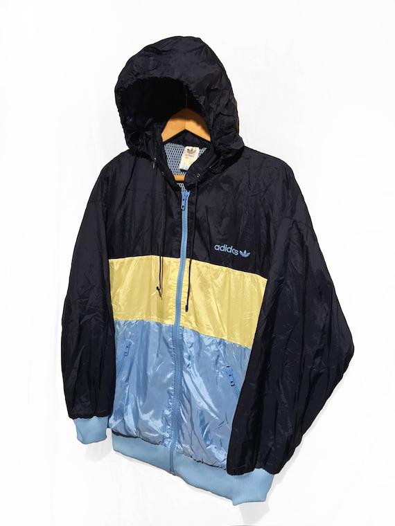 Vintage 90s Adidas Trefoil Windbreaker Hip Hop Rap Style jacket Color Block BlueYellowNavy Size D4 SM
