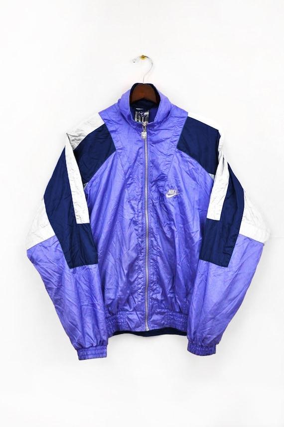 SELTENE Nike International Windbreaker Jacke Vintage 90 Multicolor lilablauweiß Größe L