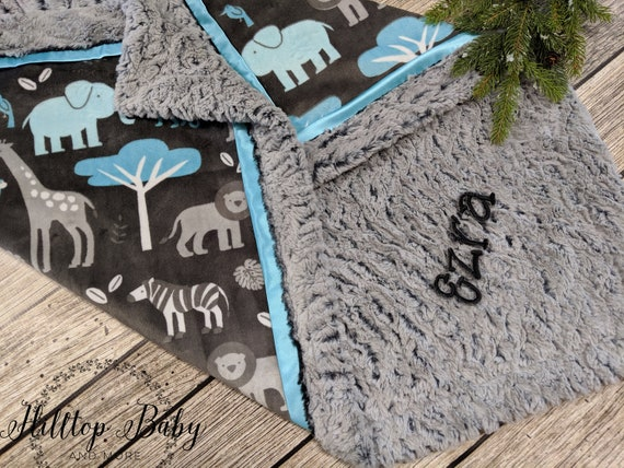 Personalized Gray Minky Baby Blanket Elephant or Whale-Perfect Baby Shower Gift