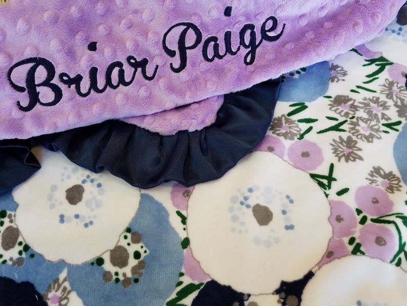 Purple Boho Personalized Baby Girl Blanket-Purple floral baby girl shower gift; Adult Minky Blanket
