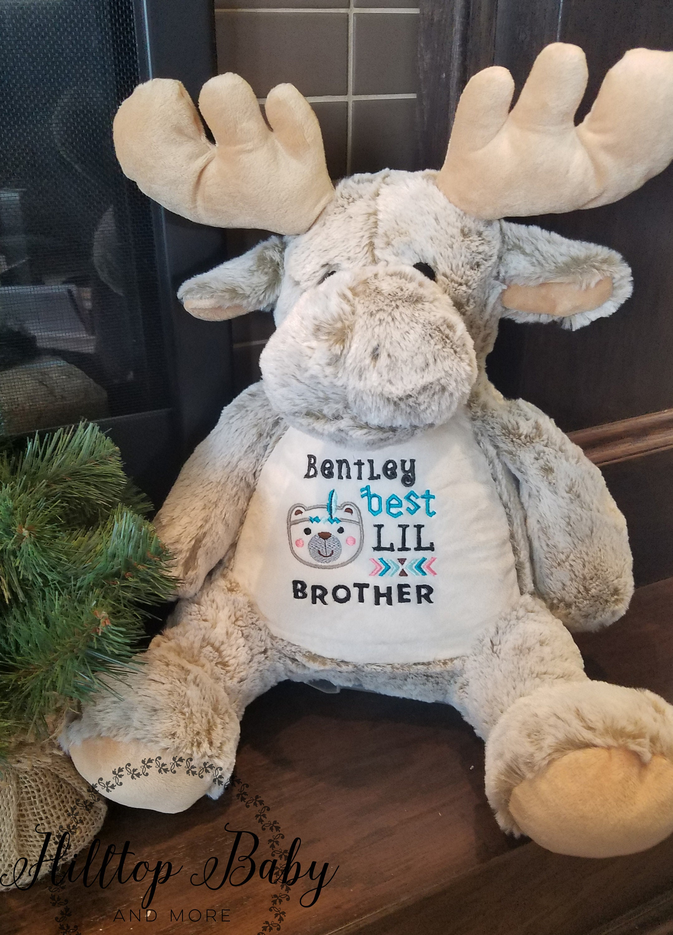 Personalized Baby Stuffed Animals, Personalized Moose Baby Stuffed Animal Birth Announcement Woodland Boy Baby Shower Gift Customized Stuffed Animal