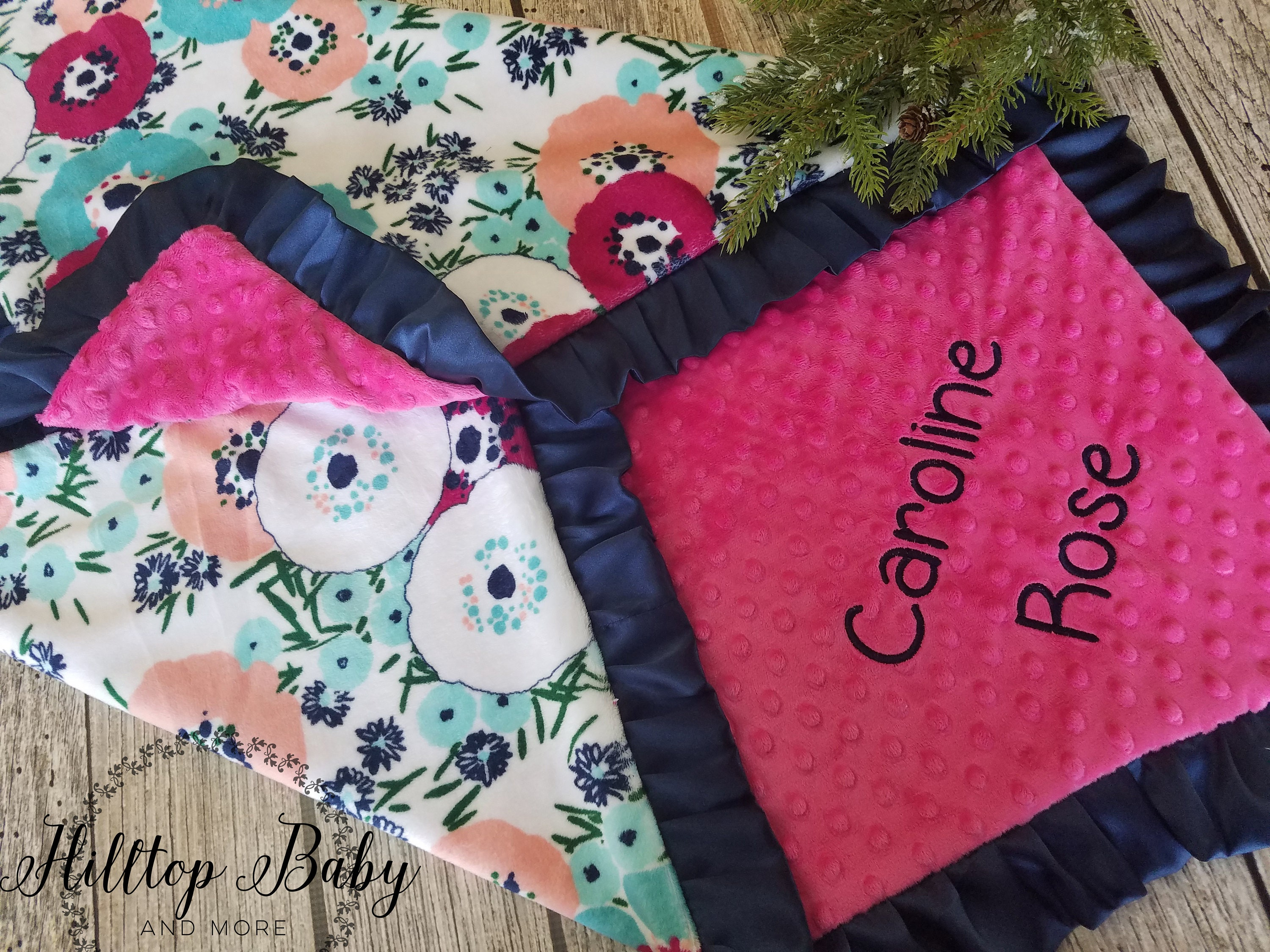 Pink Minky Monogrammed Baby Blanket Personalized Soft Pink Baby Blanket