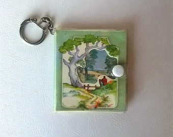 Vintage mini book keychain