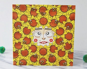Sunflower Card, Illustrated Square Greetings Card, Blank Inside, 'Sunflowerface'