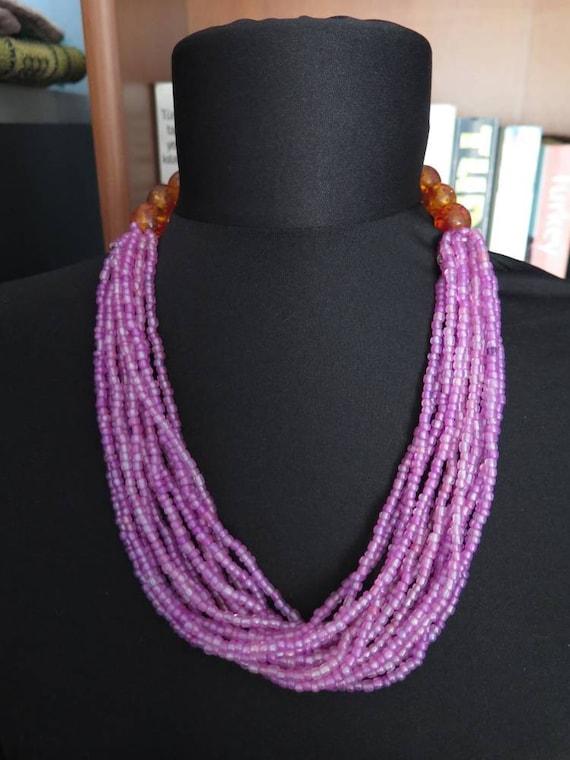 Vintage Afghan Glass Beaded Necklace