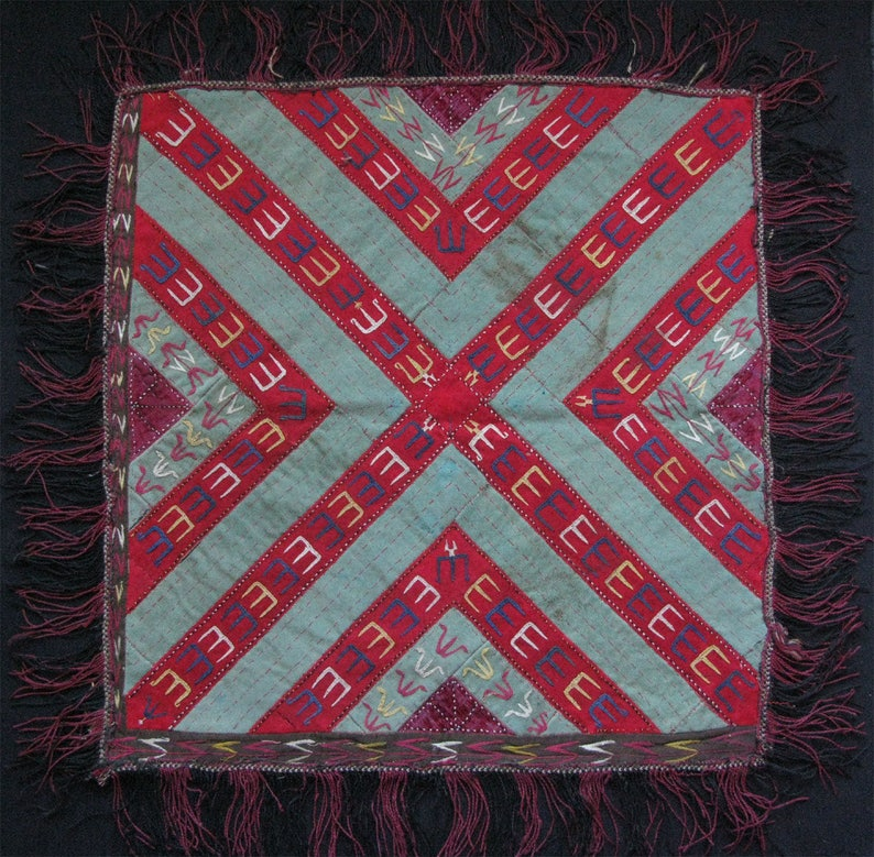 Turkmen Antique Silk Embroidery Fragment Free Shipping