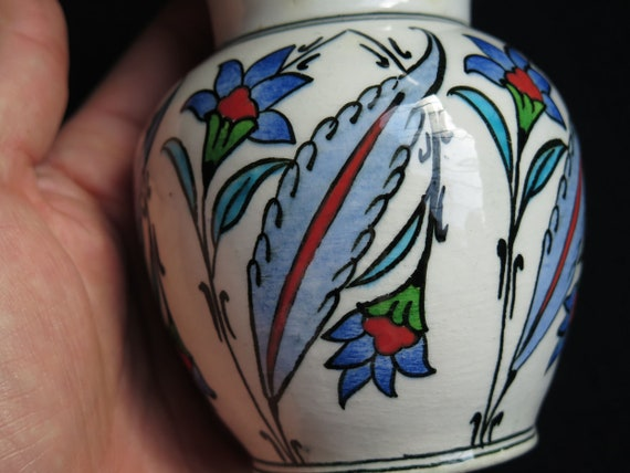 Vintage Anatolian Turkish Hand Painted and Glazed Ceramic Vase for single Flower