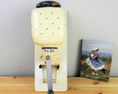 Vintage Dutch Peter Dienes PeDe Blue Dots White Manual Wall Coffee Mill Grinder - Made in Holland - Dutch Mid Century Kitchen Collectible