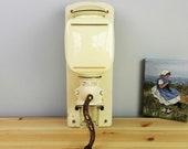 Vintage Dutch Peter Dienes PeDe Cream White Manual Wall Coffee Mill Grinder - Dutch Kitchen Collectible - 1930s