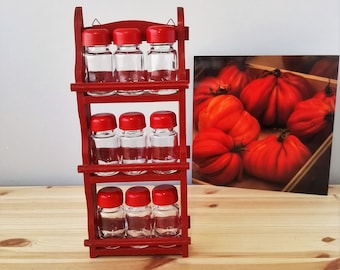 Vintage Spice Rack - Red Wooden Spice Rack - 3 Shelves Free Standing or Wall Mounted Kitchen Storage Unit - Storage Organiser