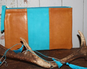 Leather & teal blue Suede Clutch