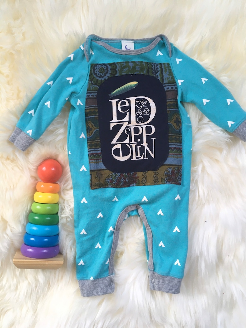 Upcycled Baby Romper Size 3-6 Months Led Zeppelin image 0