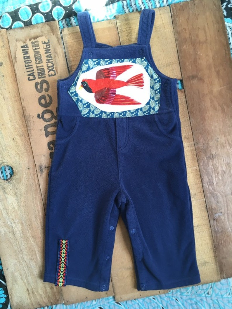Red Bird Upcycled Fleece Overalls size 18 months.