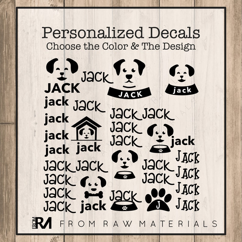 Dogs Name Decal Sheet Name Stickers Vinyl Decal Back to School Name Labels  Custom Name Stickers Custom Decals
