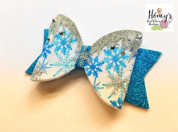 Silver Glitter Hair BowNew Year/'s Glitter BowFestive Glitter Bow