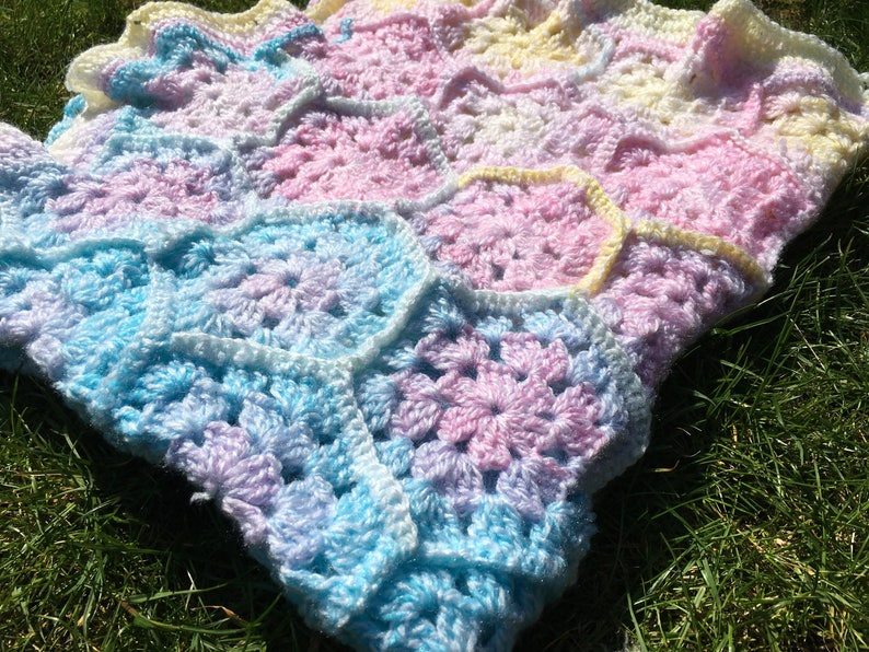 Pastel rainbow honeycomb style baby blanket rainbow baby ...