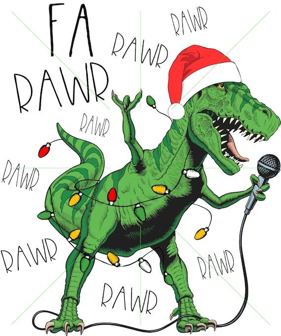 Dinosaur Christmas.Fa Rawr Rawr Dinosaur Christmas Sublimation Transfer Shirt Design Kindredcreationsmo