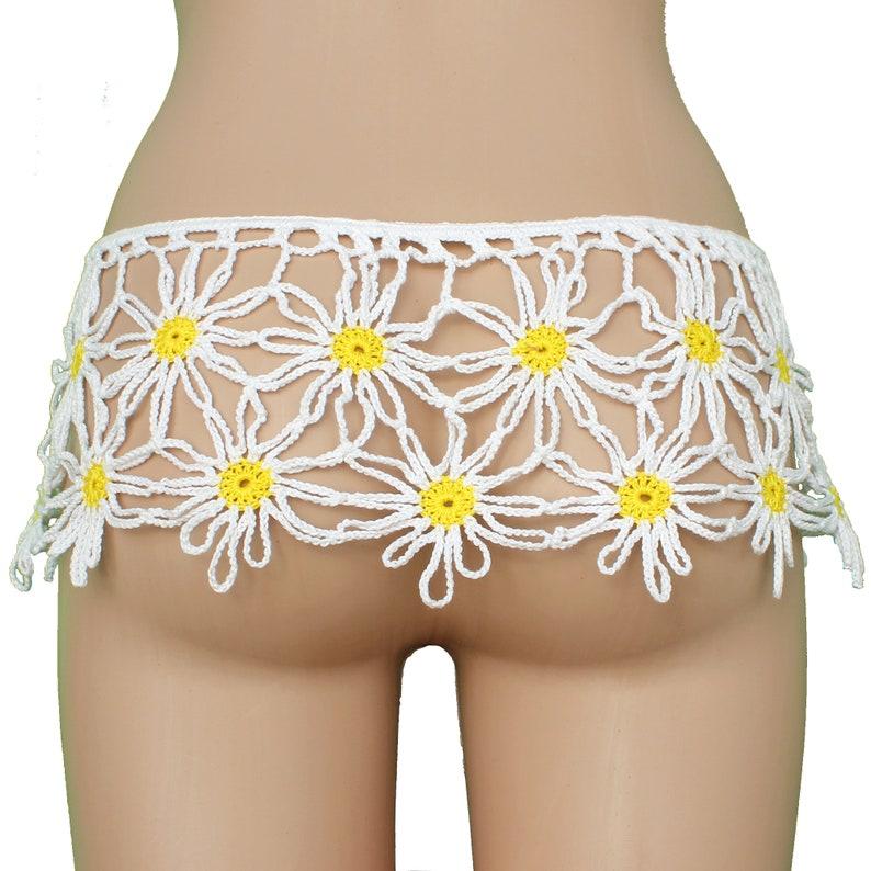 on the hips mini skirt Crocheted skirt chamomiles