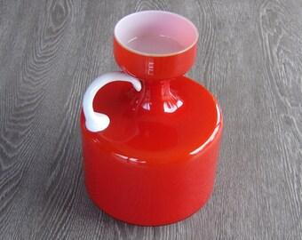 Cruche vase verre 70's. Red glass jug vintage. France