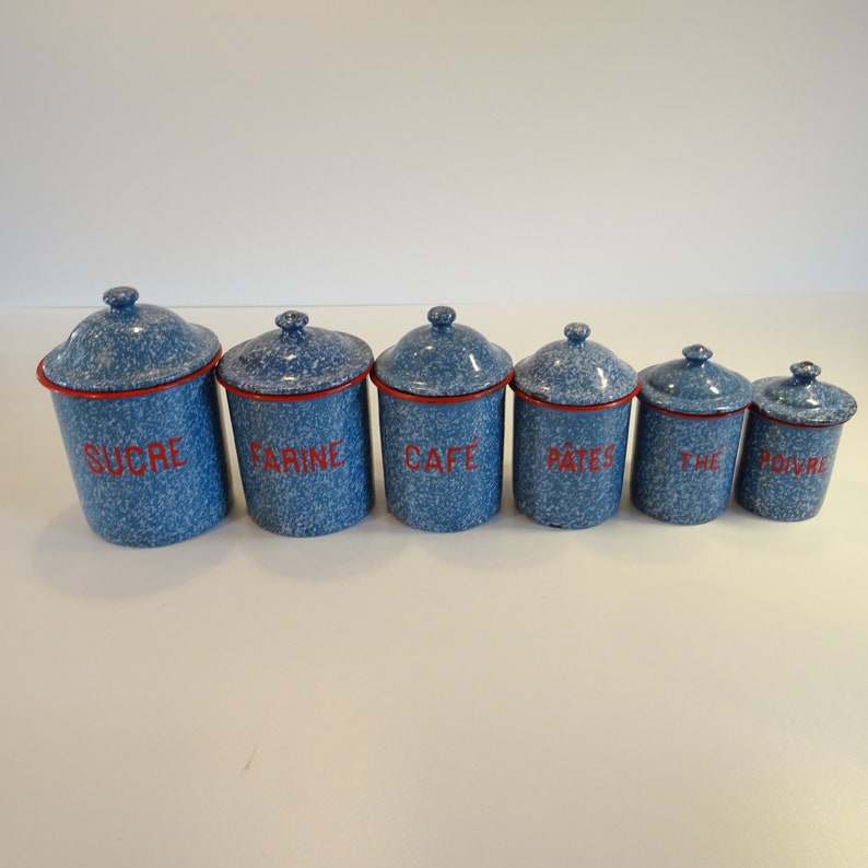 Vintage cream émail thé café sucre de rangement cuisine boîtes pots pots set