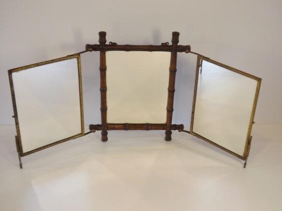 Miroir triptyque au décor asiatique / glace ancienne chinoise ou japonaise  / Décoration de chambre et meuble de toilette / déco de coiffeuse