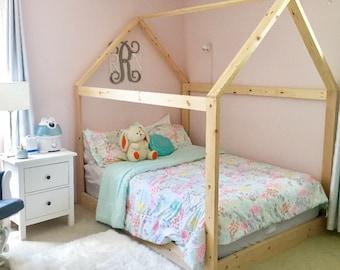 Lovely Full Size House Bed Frame + Mattress Slats Made In US