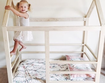 Toddler House Bed Frame Railings Mattress Slats Made In US