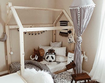 Toddler House Bed Frame with mattress slats and chimney