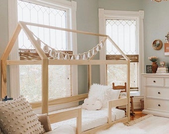 Twin Full or Queen House Bed Frame + railings + mattress slats Made in US