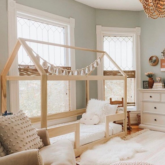 finest selection 236d0 579e7 Twin House Bed Frame + railings + mattress slats Made in US
