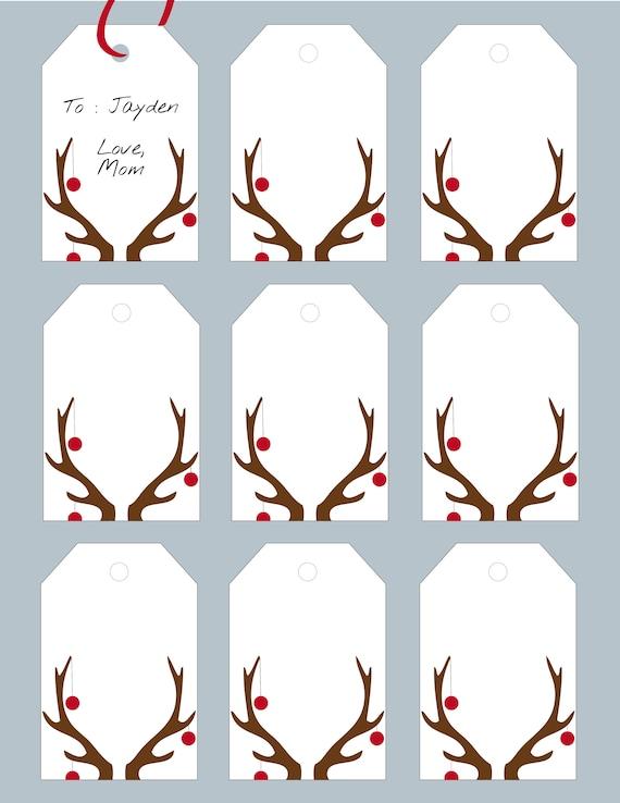 printable reindeer gift tags diy gift tags christmas gift etsy