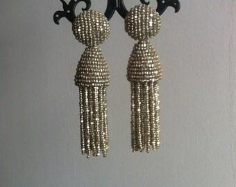 Short Tassel Beaded Earrings clip-on  Earrings in the style of Oscar De La Renta