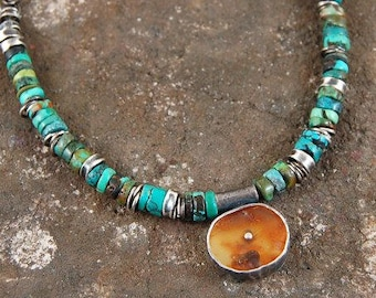 turquoise amber silver necklace, amber pendant