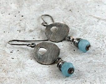 aquamarine silver earrings, oxidized sterling silver earrings