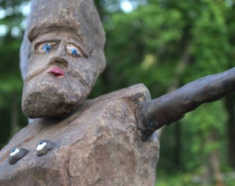 My Eyes are Up Here, Handmade and One Of a Kind Large OutDoor Sculpture carved by hand out of mountain stone way cool