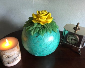 YELLOW ROSE, a Unique, Full Size Ceramic Cremation Urn for Human or Pet Ashes
