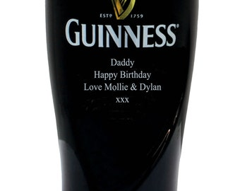 Custom Engraved Guinness Infinity Pint Glass. Personalized with your Message. Ireland's favourite drink.