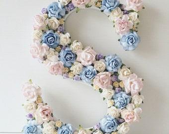 Custom order floral letter //baby shower gift// christening gift